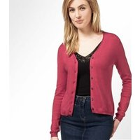 Womens Silk and Cotton Soft Feel V Neck Cardigan S Rich Rose