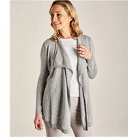 Womens Cashmere and Merino Waterfall Cardigan L Flannel Grey