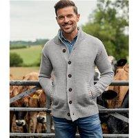Mens Pure Wool Button Everyday Cardigan XL Flannel Grey