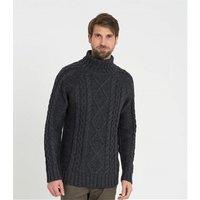 Mens Pure Wool Aran Polo Neck Jumper XL Charcoal