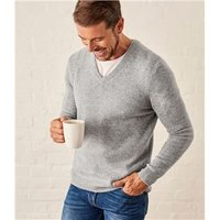 Mens Lambswool V Neck Knitted Sweater XXL Flannel Grey