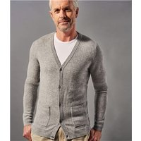 Mens Pure Cashmere V Neck Cardigan L Grey Marl