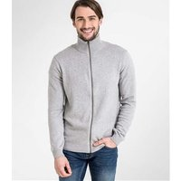 Mens Cashmere and Cotton Zip Through Cardigan L Grey Marl