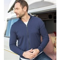 Mens Cashmere and Cotton Zip Through Cardigan S French Navy
