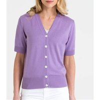 Womens Silk and Cotton Short Sleeved V-Neck Cardigan M Deep Lilac