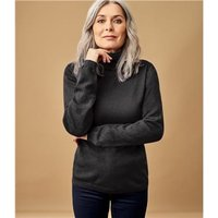 Womens Cashmere and Merino Fitted Polo Neck Knitted Jumper M Black