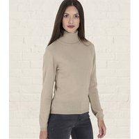 Womens Cashmere and Merino Fitted Polo Neck Knitted Jumper L Light Stone