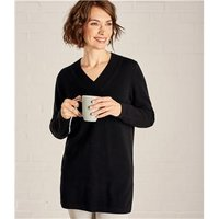 Womens Cashmere and Merino Relaxed V-Neck Tunic M Black