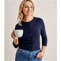 Womens Silk and Cotton 3/4 Sleeve Crop Cardigan XL Navy