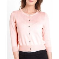 Womens Silk and Cotton 3/4 Sleeve Crop Cardigan L Pale Pink