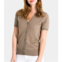 Womens Silk and Cotton Short Sleeved V-Neck Cardigan S Pepper