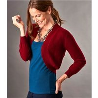 Womens Cashmere Merino Bolero Cardigan XL Red