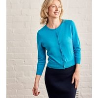 Womens Silk and Cotton 3/4 Sleeve Crop Cardigan M Soft Teal