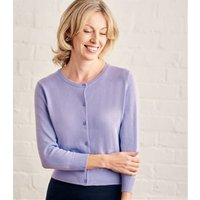 Womens Silk and Cotton 3/4 Sleeve Crop Cardigan XS Lavender