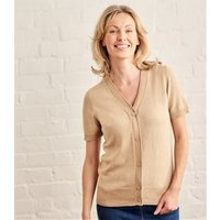 Womens Silk and Cotton Short Sleeved V-Neck Cardigan XL Sand
