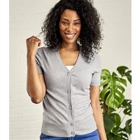Womens Silk and Cotton Short Sleeved V-Neck Cardigan S Grey Marl