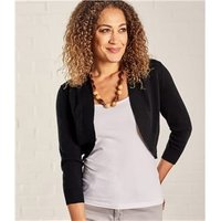 Womens Cashmere Merino Bolero Cardigan XL Black