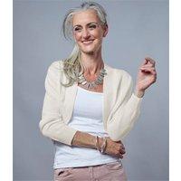 Womens Cashmere Merino Bolero Cardigan XS Cream