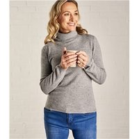 Womens Cashmere and Merino Fitted Polo Neck Knitted Jumper S Grey Marl