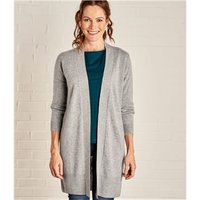 Womens Cashmere and Merino Edge to Edge Long Cardigan M Grey Marl