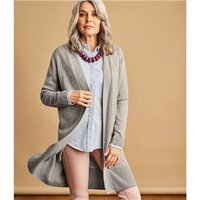 Womens Cashmere and Merino Edge to Edge Long Cardigan L Grey Marl