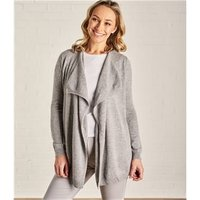 Womens Cashmere and Merino Waterfall Cardigan S Grey Marl