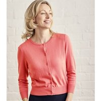Womens Silk and Cotton 3/4 Sleeve Crop Cardigan S Warm Coral