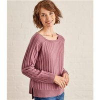Womens Textured Rib Jumper L Dusty Pink