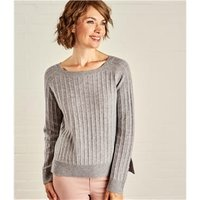 Womens Textured Rib Jumper XS Grey Marl