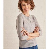 Womens Lace Stitch Cardigan L Light Grey