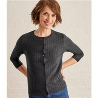 Womens Lace Stitch Cardigan XL Dark Charcoal