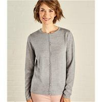 Womens Pearl Button Cardigan S Grey Marl