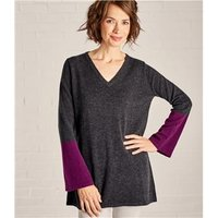 Womens Colour Block Tunic S Charcoal/Thistle