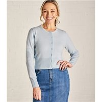 Womens Crew Neck Cropped Cardigan S Soft Blue