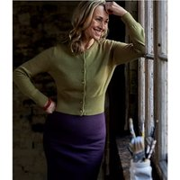 Womens Crew Neck Cropped Cardigan XS Soft Olive