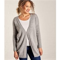 Womens Cashmere Merino V Neck Ribbed Sleeve Cardigan XL Grey Marl
