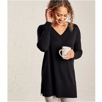 Womens Cashmere Merino Deep V Neck Tunic XS Black