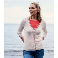 Womens Cotton Cashmere Tipped V Neck Cable Cardigan XS Cream