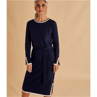 Womens Tie Waist Tipped Dress L Navy/Cream