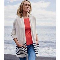 Womens Cotton Stripe Long Cardigan XS Navy/Cream