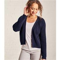 Womens Pure Cotton Crop Edge to Edge Cardigan L Navy
