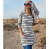 Womens Jersey Patch Pocket Tunic L Grey Marl/White