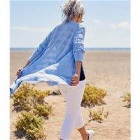 Womens Cotton Hidden Stripe Cardigan M Blue Ash