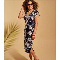 Womens Linen Drawstring Sleeve Dress XS Tropical Print