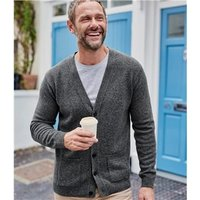 Mens Lambswool V Neck Cardigan XXL Dark Grey Marl
