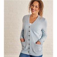 Womens Lambswool V Neck Cardigan XL Soft Blue
