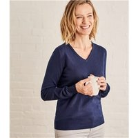 Womens Cashmere and Cotton V Neck Jumper XS Navy