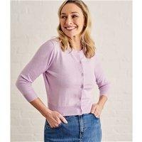 Womens Silk and Cotton 3/4 Sleeve Crop Cardigan M Heather