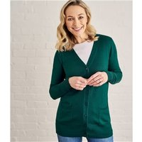 Womens Silk and Cotton Long Cardigan S Hunter Green