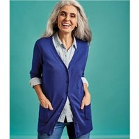 Womens Silk and Cotton Long Cardigan L Imperial Blue